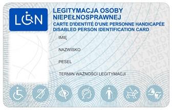 Wzór legitymacji dokumentującej niepełnosprawność -awers