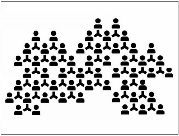 Na białym tle czarne postaci ludzi połączanych ze sobą kreskami.