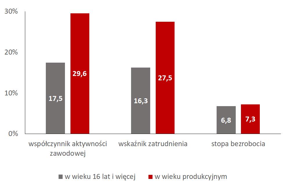 Osoby niepełnosprawne w wieku 16 lat i więcej: współczynnik aktywności zawodowej 17,5% wskaźnik zatrudnienia 16,3% stopa bezrobocia 6,8% Osoby niepełnosprawne w wieku produkcyjnym: współczynnik aktywności zawodowej 29,6% wskaźnik zatrudnienia 27,5% stopa bezrobocia 7,3%